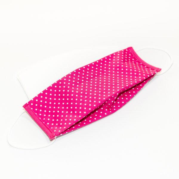 Mondkapje fuchsia roze met witte stippen + 10 filters