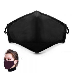 zwart mondmasker met gezicht