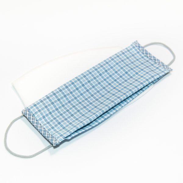 Mondkapje blauw geruit + 10 filters
