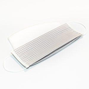 Mondkapje wit met zwatrte ruit + 10 filters